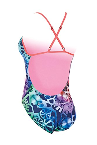 Zoggs Damen Badeanzug Machina Aqua Multi-Colour/Neon Cherry