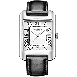 Blenheim London® B3180 Curve Watch White Roman Numeral with Sliver Hands with Black Leather Strap
