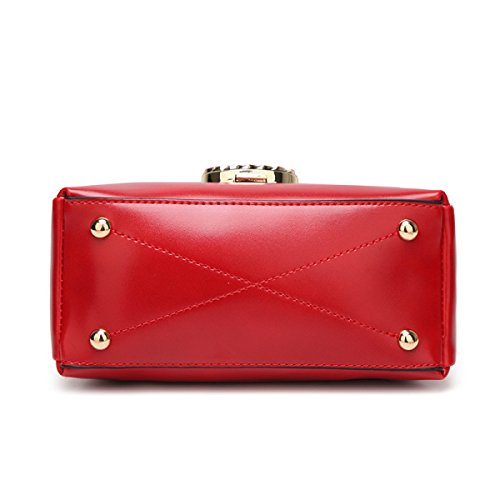 2017 Neues Paket Persönlichkeit Einfach Leder Dame Breitband Schulter Messenger Schloss Handtasche Red