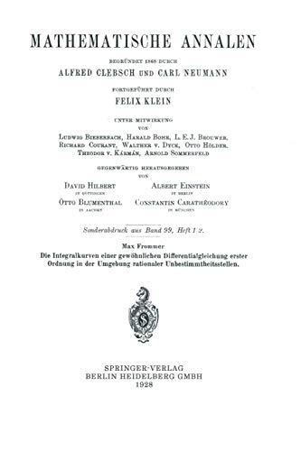 Die Integralkurven Einer Gewöhnlichen Differentialgleichung Erster Ordnung in der Umgebung Rationaler Unbestimmtheitsstellen (Mathematische Annalen)
