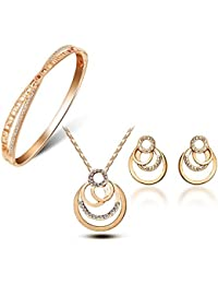 YouBella Crystal Jewellery Gold Plated Jewellery Set for Women (Golden)(YBCRS_Combo_00091)