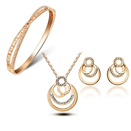 YouBella Jewellery Crystal Combo of Fancy Party Wear Pendant Necklace Set, Bangle Bracelet and Fancy Party Wear Earrings for Women and Girls