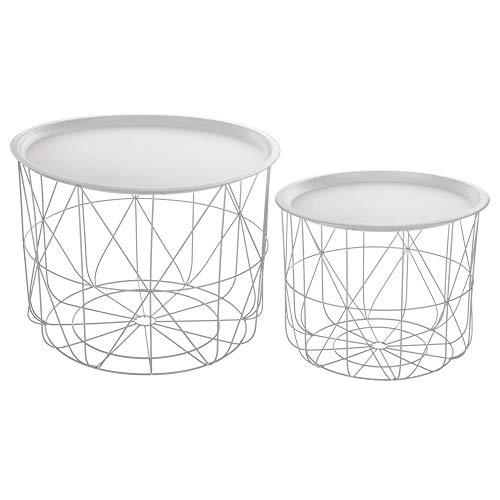 Lote de 2 mesas nido de café con bandejas movibles - Diseño y Modero - Color BLANCO