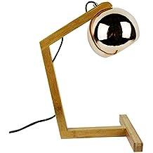 Lámpara Noche Madera–pantalla estilo cobre Déco Estilo 70s–Copper