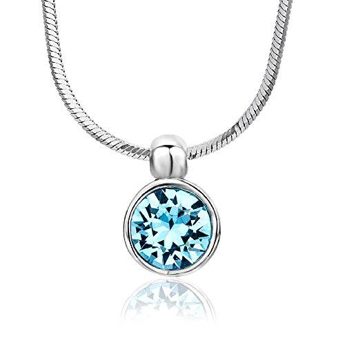 Miore Damen-Halskette mit Anhänger - Funkelnde Kette aus 925 Sterling Silber mit Swarovski Element - Halsschmuck 40 cm lang, Silber