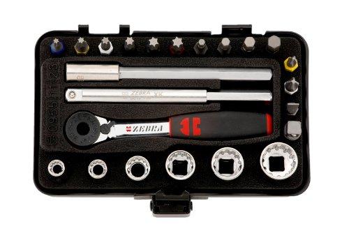 Würth Zebra 0,64cm Multi Schlüssel + 23-teiliges Mini mit Ratsche + Aktenkoffer für schmale Zimmer