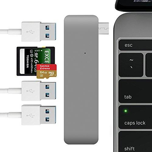 5 in 1 MacBook USB-C Hub, Cymall Typ C Combo Hub Adapter Universal USB Typ-C mit 2 Kartenlesern und 3 USB 3.0 Anschlüssen für Macbook Pro 2016/2017(Grau)