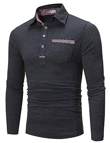 Boom Fashion Polo Homme Manches Longues Vintage Bouton Lapel T-shirt Mince Fit Confortable en Coton Elastique,Gris 1,XL=Asie XXL(Buste:41.7