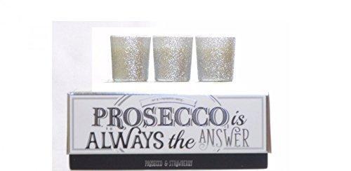 Prosecco ist immer die Antwort Set von 3 Luxus Glitter Kerzen Glas Jar Boxed Gi