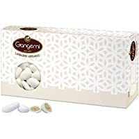 Gangemi Confetti - 1kg Peladillas grageas con la almendra - Clásica de la boda italiana. - Las almendras de Sicilia - Blanco (aprox. 280)