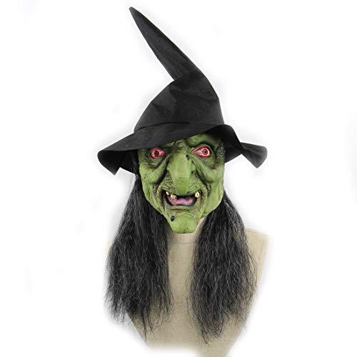 DUBAOBAO Halloween-Maske, Halloween-Body-Parts-Requisiten, Halloween-Grüne Kopf Graue Haare Horror-Hexenmaske Haunted Haus Zimmer Escape Dress up Wig Halloweenkostüm-Party
