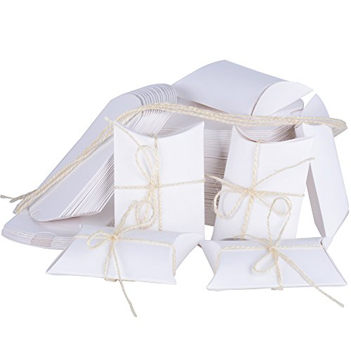 100pz scatole portaconfetti in carta kraft incluso corda forma cuscino bomboniere regalo segnaposti per festa laurea matrimonio battesimo (bianco)
