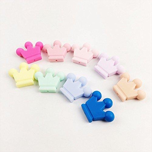 baby tete 10Pcs Silikon-Kronen-Teether 10PC unfertige Silikon-Kronen-Korn-Säuglingsspielwaren-Halsketten-hängende Sensor-greifende Spielwaren-Charme