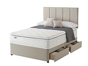 Silentnight Miracoil Geltex Stratus oreiller pour lit/Divan avec 4 tiroirs, en grès, Sandstone, Super King (180 x 200 cm)
