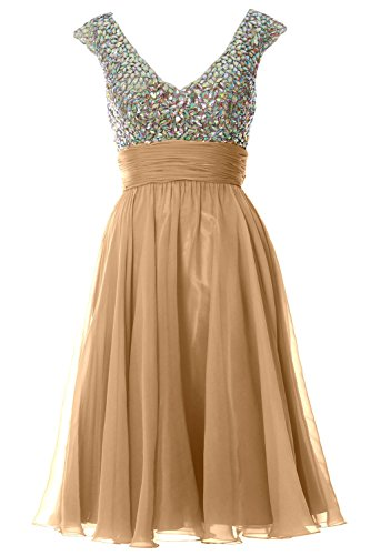 MACLoth Women Cap Sleeve V Neck Crystal Chiffon Short Prom Dress Evening Gown Champagner
