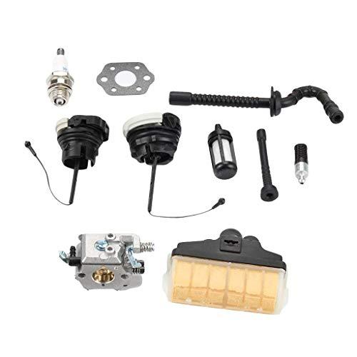 SM SunniMix Kit di Carburatore Guarnizione Filtro Olio Tubo Carburante Motoseghe Giardinaggio Aperto