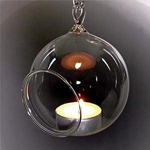 5 Stück Windlichtkugel Glaskugel Teelicht Glaskugeln Teelichtkugel Baumkugel 8cm