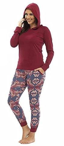Ladies Hooded Butterfly Print Jersey Pyjama Set Size 8 10