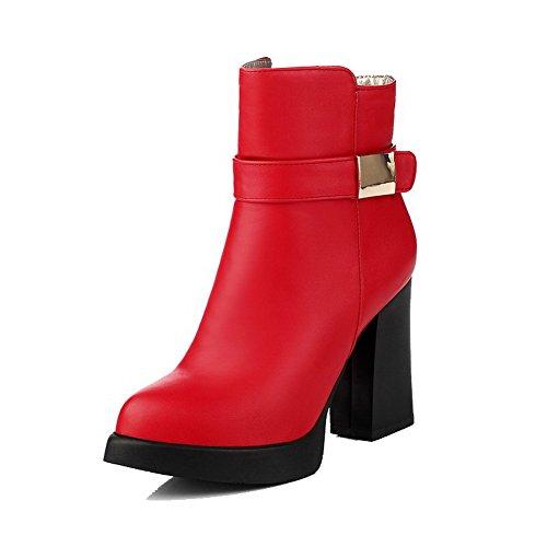 AgooLar Damen Pu Leder Niedrig-Spitze Eingelegt Reißverschluss Stiefel mit Metalldekoration Rot