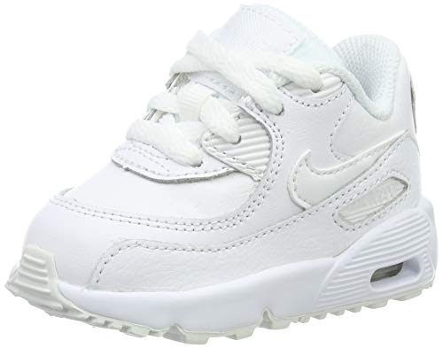 Nike Unisex-Kinder Boys Air Max 90 Leather (Td) Sneaker, Weiß White 100, 23.5 EU
