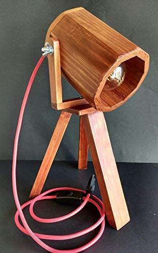 Lámpara foco de cine Vintage, con Trípode de madera reciclada de palet hecho a mano.