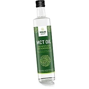 WoldoHealth MCT Öl auf Kokosöl Basis lichtgeschützte Glasflasche geschmacksneutral C8 und C10