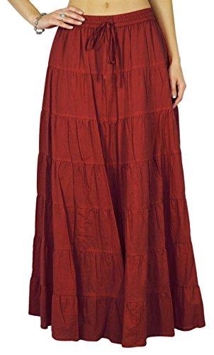 Phagun estate cotone mattone gonna rossa etnico design coulisse in vita delle donne - 36