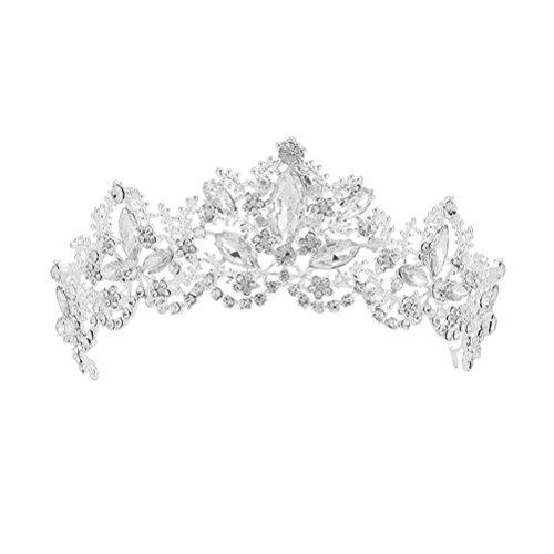 Frcolor Barock Kronen Hochzeit Brides Kopfschmuck Strass Tiara Kronen Luxus Party Zubehör (Silber)
