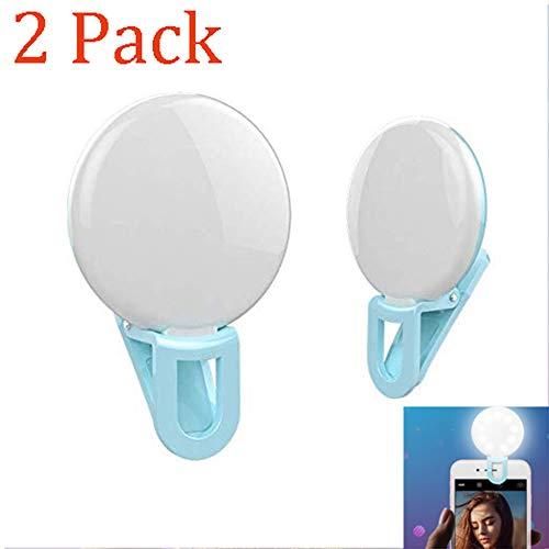 ZDGM 2 Stück,Mini-Handy-Fülllicht Tragbares rundes LED-Selfie-Licht Für Live, Foto, Fotografie,Blue (Fotografie Außenbeleuchtung)