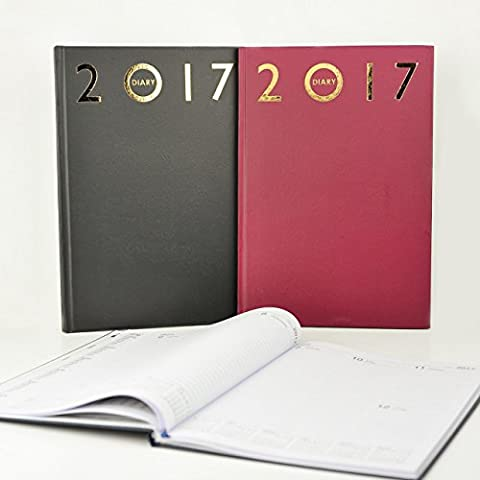2017–Agenda A4semanal página para ver diario duro respaldado diarios de escritorio, color azul