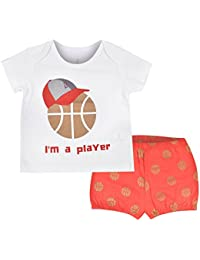 FLYBEES Baby Unisex T-shirt & Shorts, Extra soft to keep Baby Warm & Cosy – 100% Tested Cotton, White with Tomato Red - Comfort Fit, 3 months to 3 years