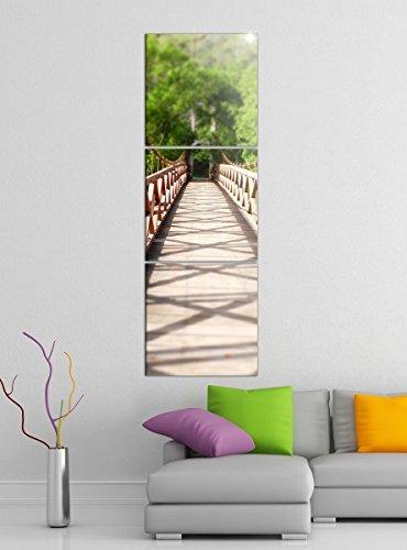 Acrylglasbilder 3 Teilig 50x150cm Hängebrücke Natur grün Holz Brücke vertikal Druck Acrylbild Acrylbilder Acrylglas 14?6619, Acrylgröße 9:Gesamt 50x150cm