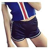 Mangotree Damen Sport Shorts Glänzende Metallische Hosen Yoga Hot Shorts Aktive Lounge Shorts Tanz Shorts mit Farbigen Kanten (XL, 4 Stück(Blau+Lila+Gold+Weinrot))