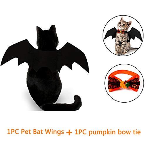 Kungfu mall animali costumi vestiti 1pc halloween ali da pipistrello per animali domestici, 1pc papillon per animali domestici per cani e gatti (qr m 1wings+ tie)