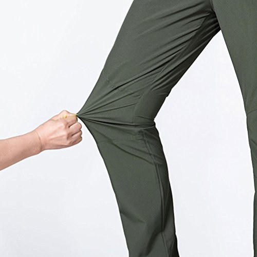 Zhhlaixing Uomo sportivo Pantaloni Men's Quick Drying Breathable Waterproof Hiking Camping Pants Trousers Sportswear Green
