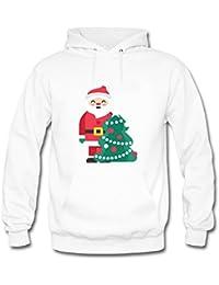 Womens Cute Cartoon Santa Claus and Christmas Tree Pattern Casual Pullover Hooded Sweatshirt