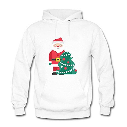 ouzhouxijia Womens Cute Cartoon Santa Claus and Christmas Tree Printed Cotton Long Sleeve Unisex Hoodie Casual Pullover Hooded Sweatshirt White 3XL
