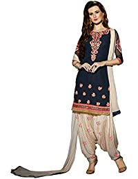 Regalia Ethnic Women's Georgette Dress Material (MFRE103_Free Size_BLue)
