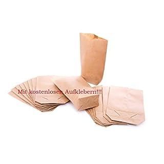 1a Qualität 25 kleine braune bio Papierbeutel Papiertüten Tüten Boden + Testaufrklebern - 14 x 22 x 5,6 cm Kaftpapier Geschenktüten Kreuzbodenbeutel Bodenbeutel natur Obstbeutel Verpackung