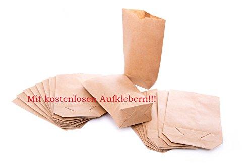 1a Qualität 25 kleine braune bio Papierbeutel Papiertüten Tüten mit Boden u. Testaufklebern - 14 x 22 x 5,6 cm Kraftpapier Geschenktüten Kreuzbodenbeutel Bodenbeutel natur Obsttüte Ostertüte