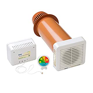 Kair KHRV150 Single Room Heat Recovery Ventilator, Pullcord & Humidistat supplied with a Free LCD Hygrometer