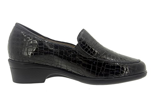 Chaussure femme confort en cuir Piesanto 7610 mocassin casual comfortables amples Noir