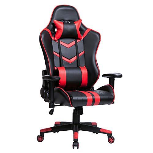 WOLTU® Racing Stuhl Chefsessel Bürostuhl Gamingstuhl Schreibtischstuhl Drehstuhl Sportsitz, mit verstellbaren Armlehne, mit Kopfkissen und Lendenkissen, höhenverstellbar, Kunstleder, Rot, BS15rt