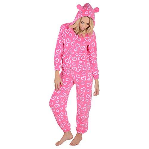 Damen Fleece Pyjama - Rosa Herzen Onesie