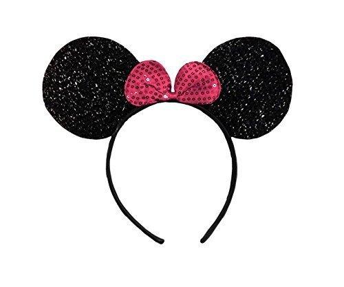 Schwarz mit Rosa Bow (Minnie Mouse Glitter Ears) Glitzernden Minnie Maus Ohren Kostüm Haarband (Minnie Maus Schwarz Kleid Kostüm)