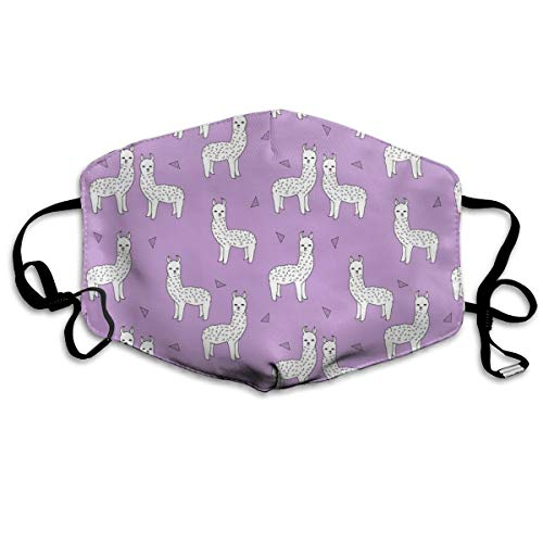 Alpaca Purple and White Alpaca Llama Cute Purple Animals Llamas Design Nursery Baby Dust Mask Anti Dust Pollution Mask Washable Polyester Mouth Mask with Adjustable Straps
