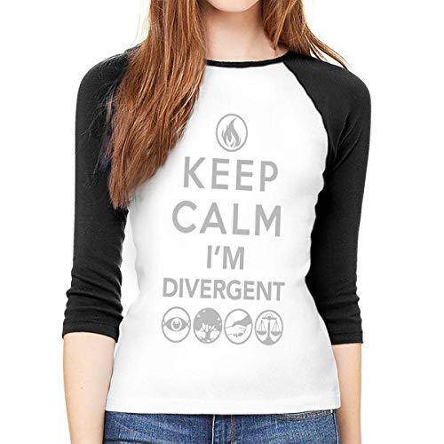 Langärmeliges T-Shirt für Damen, Keep Calm I'm Divergent Rundhals-T-Shirt, Baseball-Tunika, Tops Bluse Gr. XXL, Mehrfarbig