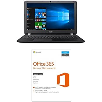 "Acer Aspire ES1-523-887J Notebook, Processore AMD Quad-Core A8-7410, RAM 8 GB, HDD 1000 GB, DVD, Display 15.6"" HD, Nero + Microsoft Office 365 Personal [1 PC / 1 anno] (Versione 2016)"