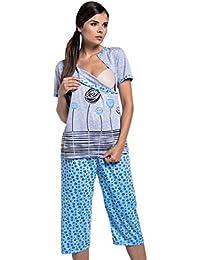 Zeta Ville - Umstands Still-Pyjama kurzen Ärmeln gekürzte Hosen - Damen - 076c