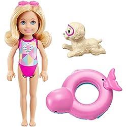Barbie Famille Mini-Poupée Blonde Chelsea et sa Bouée Magique avec Figurine Chien, Jouet pour Enfant, FDB34